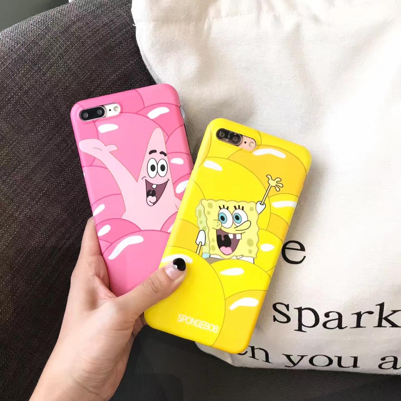 iPhone手機殼可掛繩海綿寶寶派大星矽膠軟殼蘋果iPhone7 iPhone6手機殼