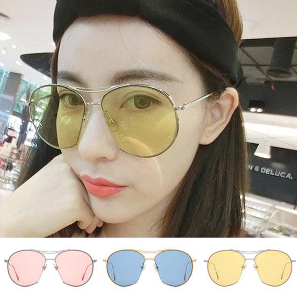 墨鏡彩色透明雷朋太陽眼鏡大框小臉復古GD李小璐同款紅黃藍男女V韓NXS