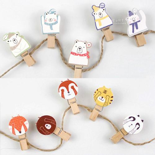 韓國小動物裝飾木夾10入組裝飾夾子拍立得夾造型木夾