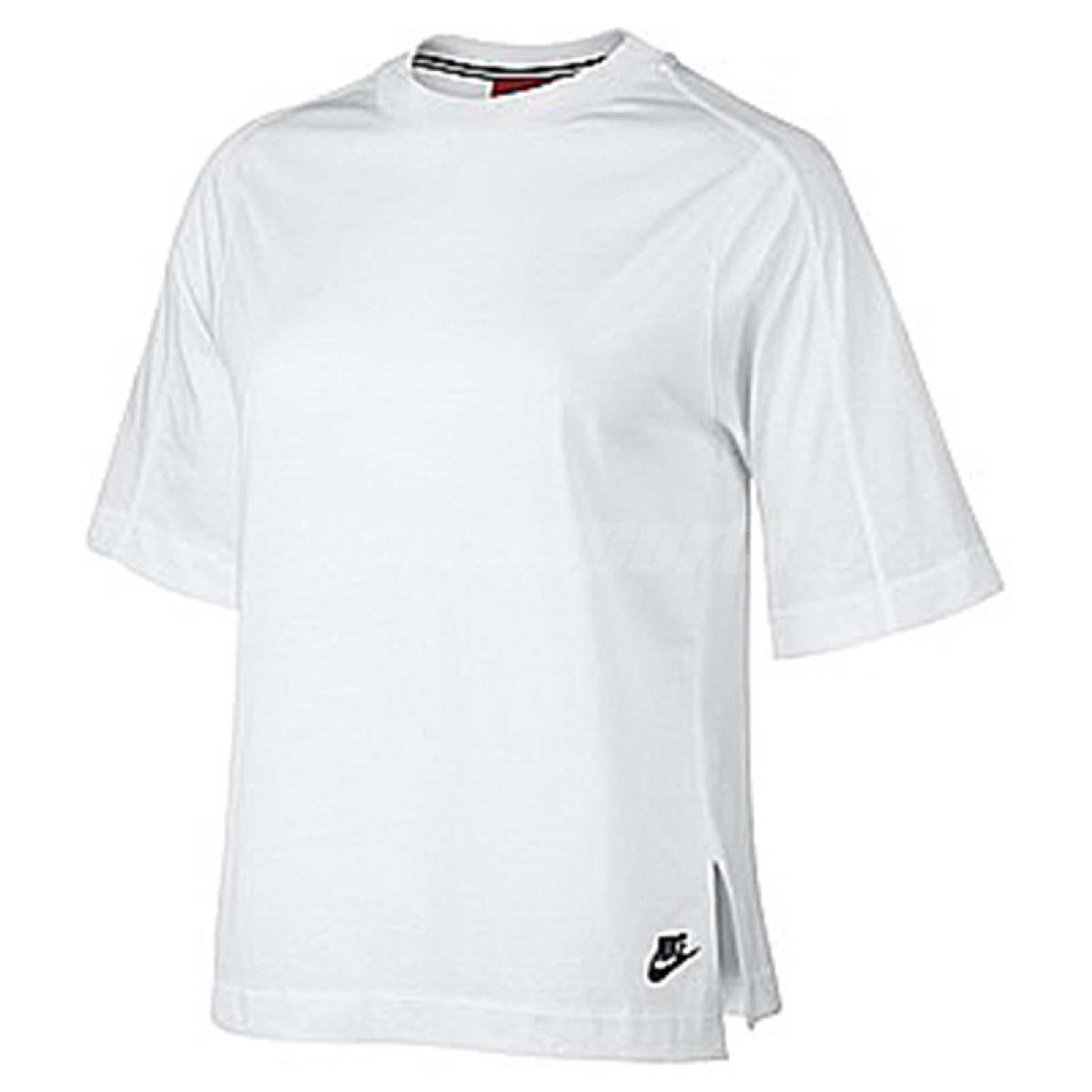 Nike T恤Wmns NSW Top Bonded白黑落肩寬版女款短袖上衣PUMP306 804036-100