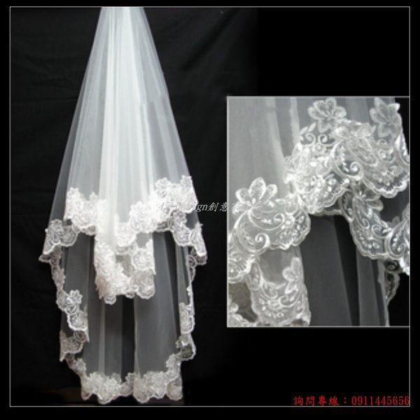 (45 Design客製化) 定做7天到貨 花開如意大花邊3米複古頭紗 新款超長拖尾婚紗頭紗配件