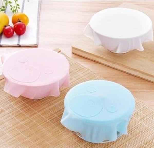 [Mini style] 環保 重複使用 矽膠 保鮮膜蓋 保鮮碗 透明 密封蓋 可愛 卡通 食品 多功能 廚房用品