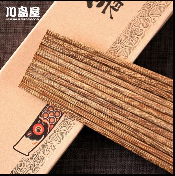 天然無漆無蠟雞翅木原木筷子日式餐具鯉魚旗禮盒10雙裝