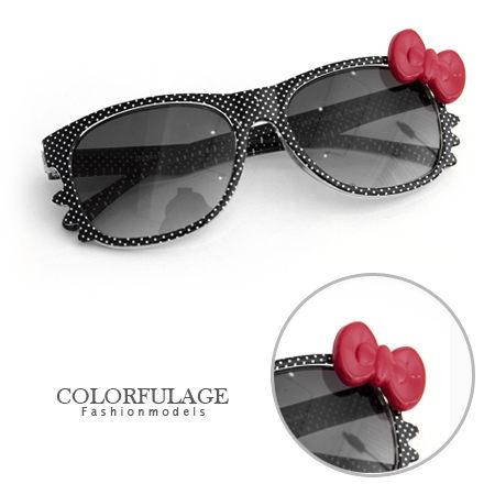 兒童太陽眼鏡夏日甜心超萌蝴蝶結點點貓咪造型兒童墨鏡抗UV400柒彩年代NY248單支價格