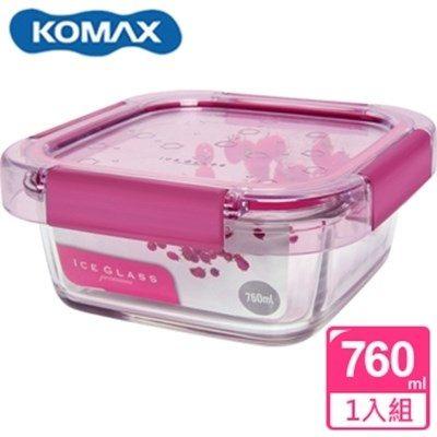 新一代 KOMAX 冰鑽方形強化玻璃保鮮盒 粉 760ml(59851)【AE02268】
