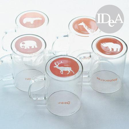 IDEA杯底動物園系列手工附蓋玻璃杯透明創意清新長頸麋鹿北極熊犀牛大象早餐茶水果汁500ml
