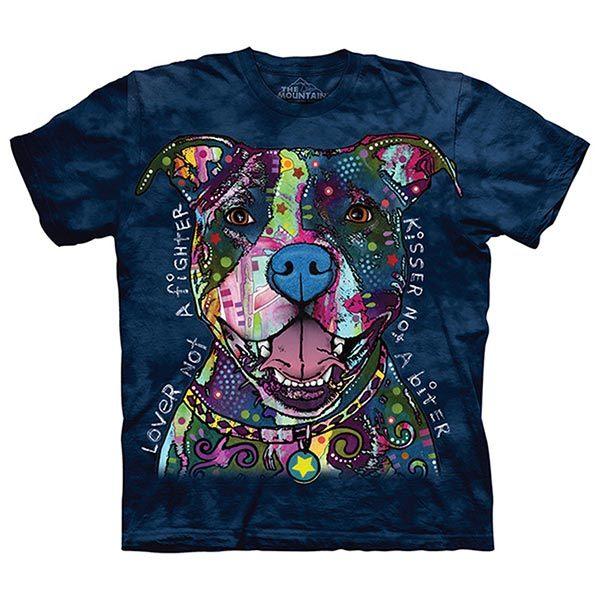 摩達客預購美國進口The Mountain彩繪親親比特犬純棉環保短袖T恤10415045213
