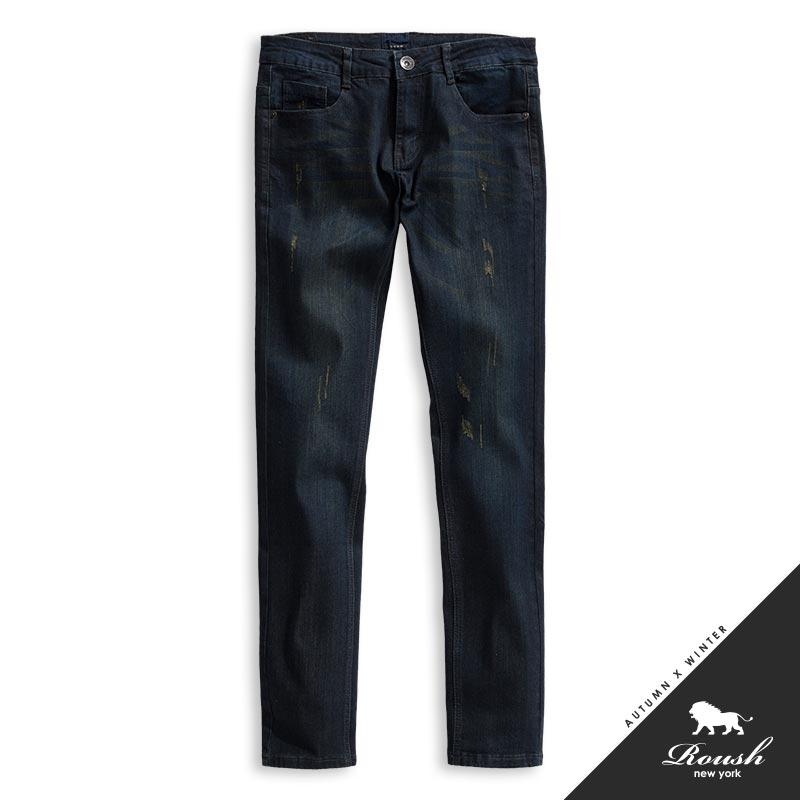 Roush韓版窄管鐵黑色水洗丹寧褲625619