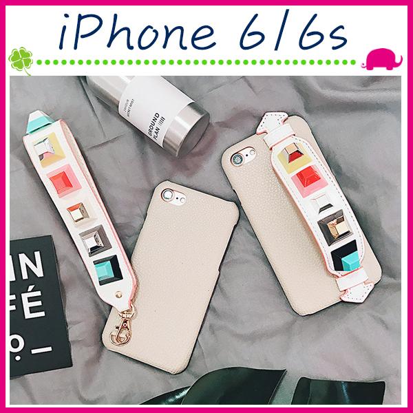 Apple iPhone6 6s 4.7吋Plus 5.5吋皮紋背蓋彩色鉚釘手機殼立體手繩保護套個性手機套吊飾保護殼