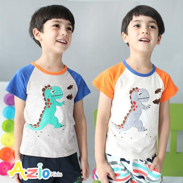 童裝 上衣 恐龍配色袖竹節棉棒球T恤(共2款)