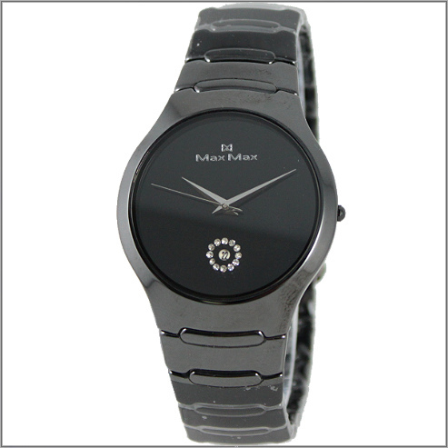 【萬年鐘錶】Max 精密黑陶瓷錶 MAS-5070-B  鏡片切割玻璃