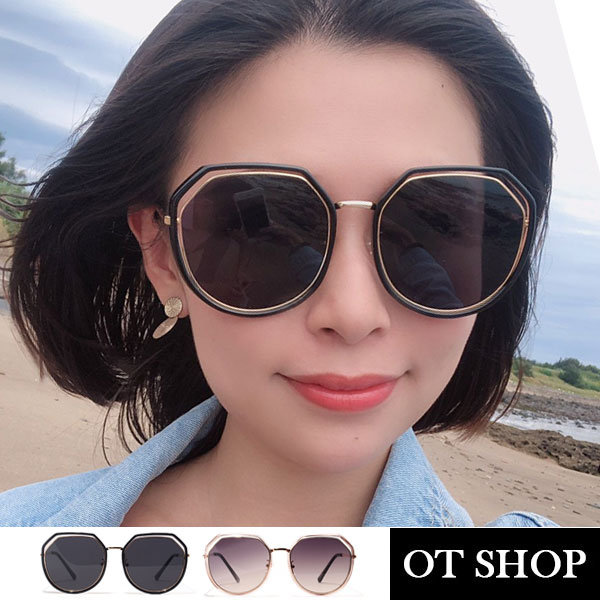 [現貨]太陽眼鏡 顯小臉不規則 多邊形 縷空鏡框抗UV400墨鏡 金屬細框鏡腳 黑色/茶色 U117 OT SHOP