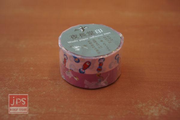 日本倉敷意匠和紙膠帶-木偶娃娃動物樂隊15mm兩卷入粉色E款