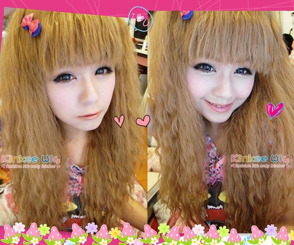 Kinkee假髮筱涼示範韓系高仿真安娜蘇洋娃娃款玉米燙長捲耐熱假髮H0052
