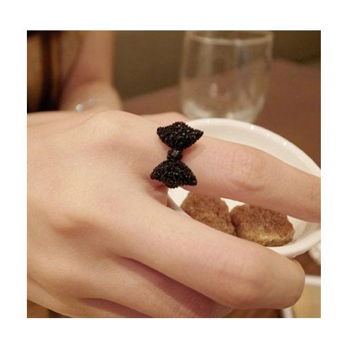 [Ministyle] OD0219 戒指 歐美飾品 復古 黑色 滿鑽 蝴蝶結 戒指 B100100083