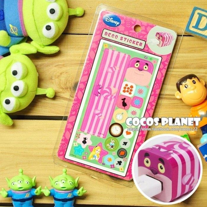 迪士尼裝飾貼紙愛麗絲貓妙妙貓IPHONE豆腐充貼紙插頭貼紙COCOS PL055