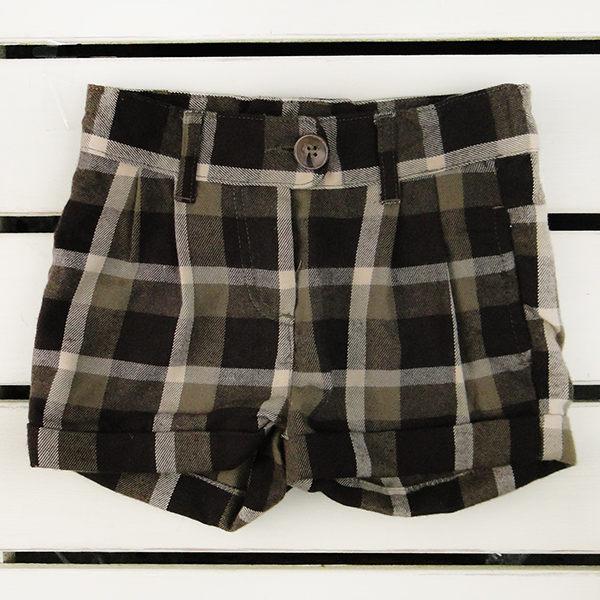 短褲褲子咖啡色格子短褲92 104