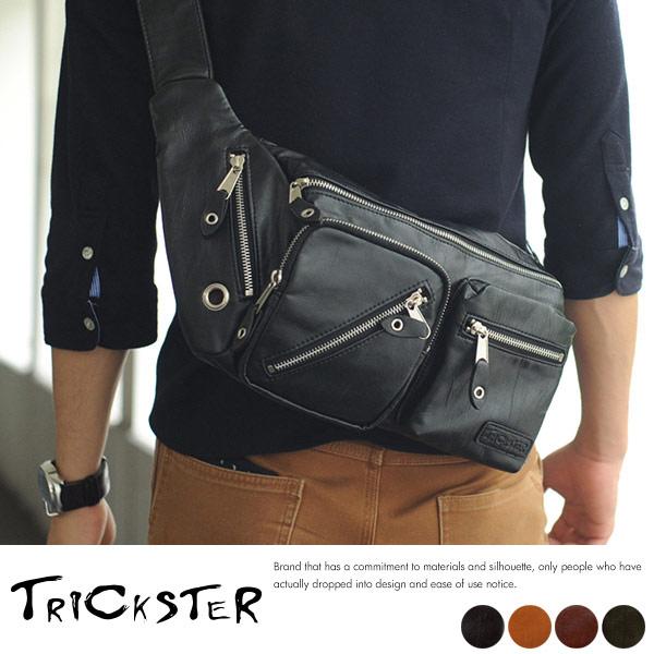 現貨TRICKSTER日本品牌斜背包腳踏車包腰包A4單肩背包復古皮革感都會潮流tr24黑色