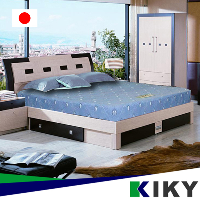 KIKY一代日式印花蓆面彈簧單人加大床墊3.5尺彈簧床墊