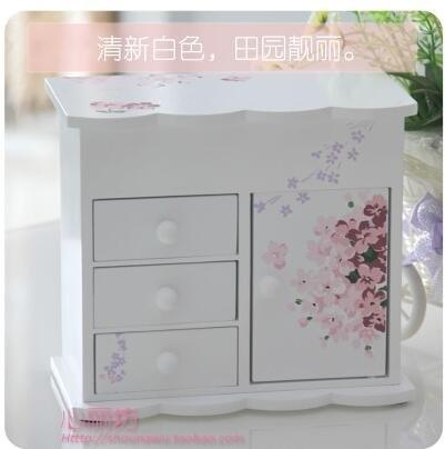 小巧木質首飾盒子 韓國田園歐式公主飾品盒收納珠寶箱子生日禮物