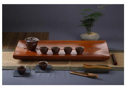 幸福居*整塊花梨木茶盤茶具套裝陶瓷幹泡功夫茶具茶海幹泡台簡約茶盤套裝2首圖款8件套