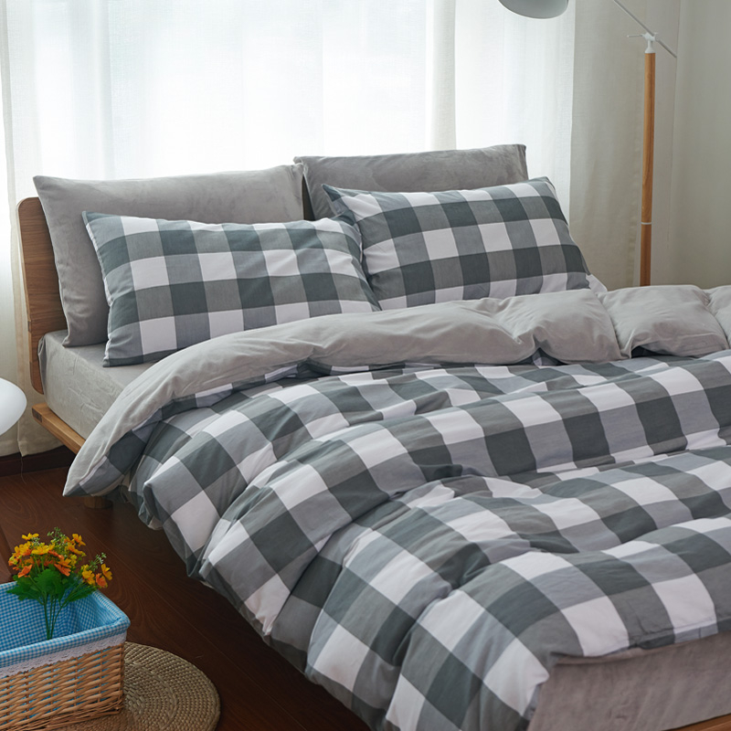 法蘭絨雙人床包灰白格刷毛5尺雙人床包組床包被套枕套兩用被毯ikea床單精梳棉佛你企業