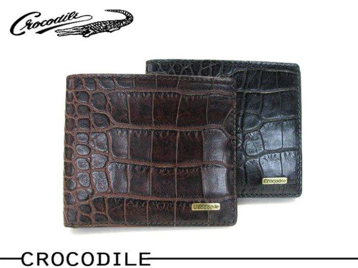 寧寧*台中皮夾包包店Crocodile鱷魚皮紋黑色咖啡色迷你較薄超薄小型較小短夾皮夾*670406-2