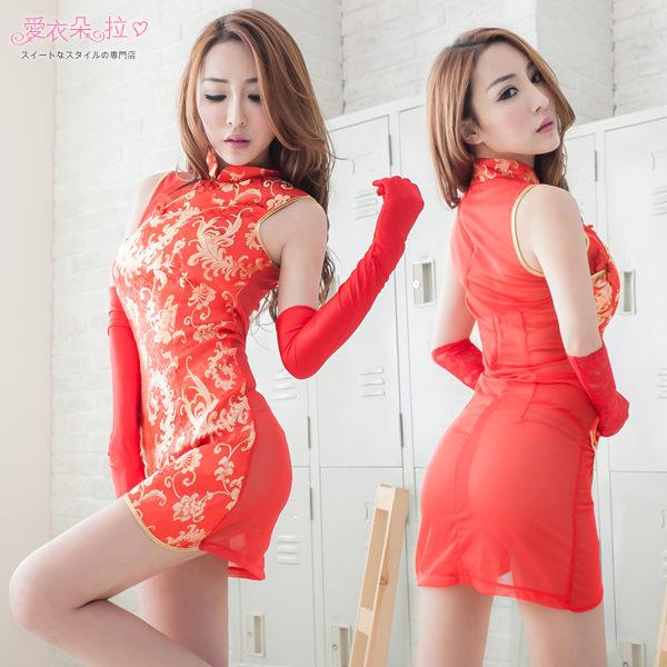旗袍XS背後性感薄紗連身裙開運紅色旗袍斜裙擺古典改良旗袍-愛衣朵拉