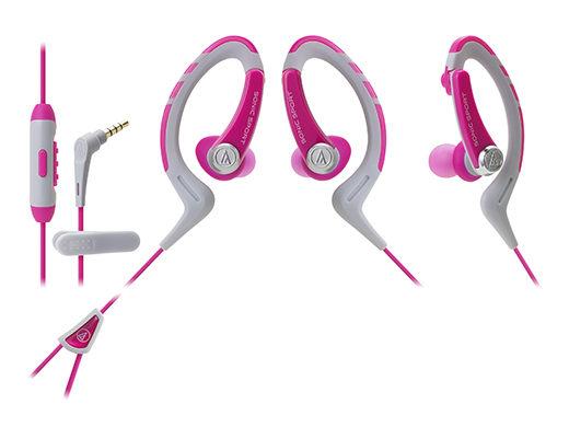 鐵三角ATH-SPORT1iS智慧型手機用運動專用耳機IPX5公司貨粉紅My Ear台中耳機專賣店