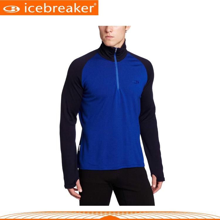 【Icebreaker 男 半開襟長袖上衣《寶藍》】IBF165/抗臭/羊毛衣/保暖/中層衣