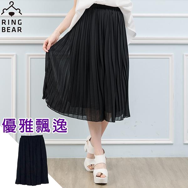 百褶裙-純色素面輕柔鬆緊雪紡百褶長裙黑XL-3L-Q76眼圈熊中大尺碼