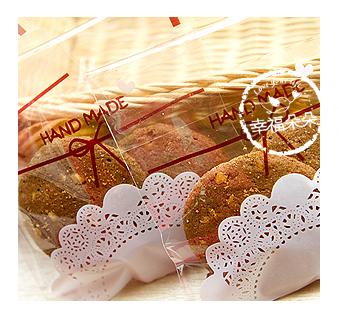 幸福朵朵【自黏OPP包裝袋(禮物包裝.烘焙點心包裝)J.白色蕾絲HANDMADx10枚】西點糖果餅乾