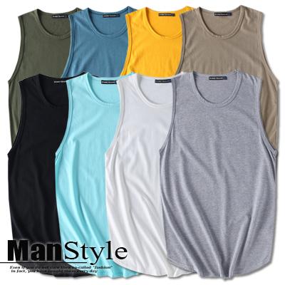 背心韓版純色素面無袖T恤背心上衣男裝01A0313