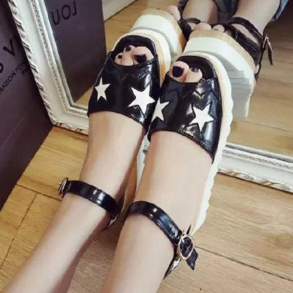 厚底鞋時尚星星厚底鬆糕魚口涼鞋S969雙兒網