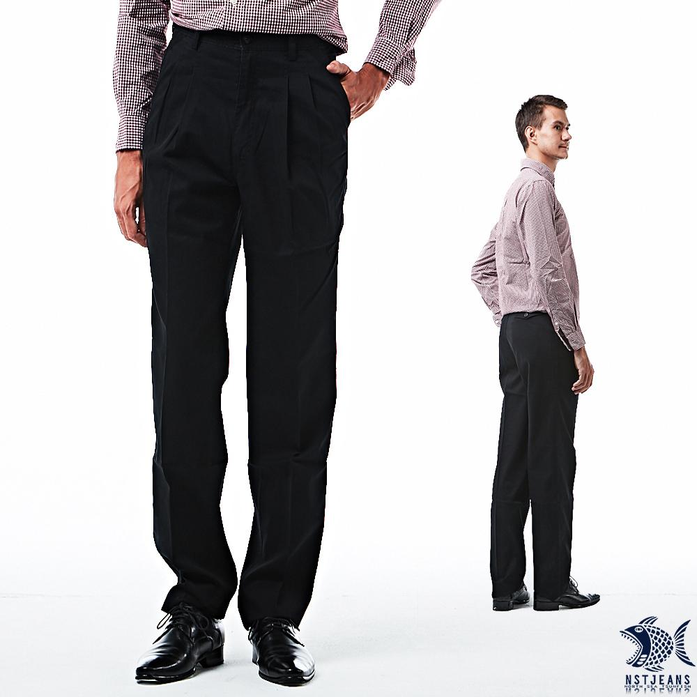 【NST Jeans】Noir黑 細純棉 打摺休閒男褲(中高腰寬版) 005(67341) 台製 紳士 男 夏季薄款