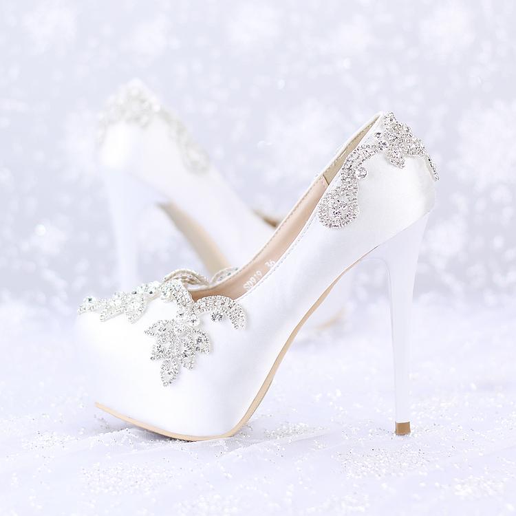 珍珠水鑽婚鞋超高跟細跟拍婚紗照鞋尖頭新娘鞋女涼鞋  :666120040