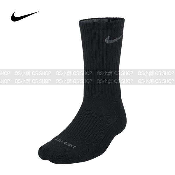 Nike 快速排汗運動襪 SX4904-001 黑色灰勾 Dri-FIT Cotton Cushion Crew