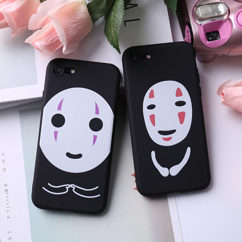 iPhone手機殼可掛繩大小臉無臉男浮雕矽膠軟殼蘋果iPhone7 iPhone6 iPhone5