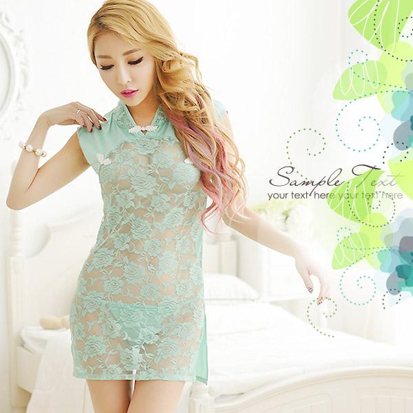 蕾絲薄紗透視性感改良旗袍-綠色含丁字褲銀白色情趣用品角色扮演服連呻洋裝