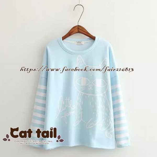 貓尾巴CH-0250可愛大眼貓咪拼接條紋袖T恤森林系日系棉麻文青清新