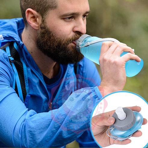 軟水壺杯折疊水壺戶外旅遊運動大容量便攜軟水袋騎行登山飲水袋500ML庫奇小舖