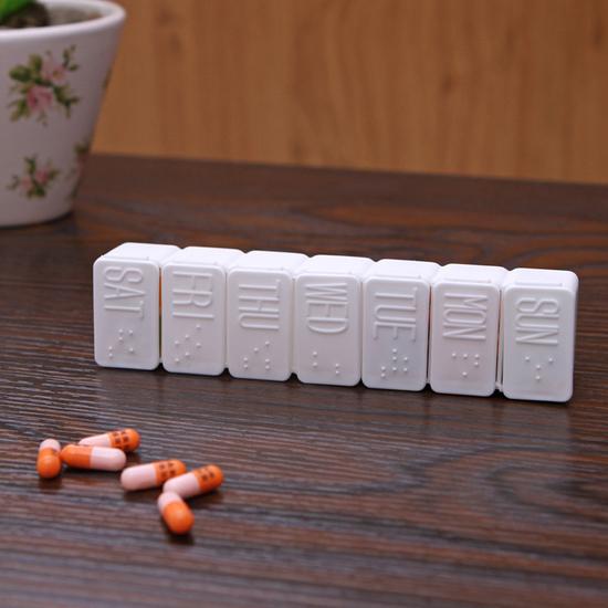 ♚MY COLOR♚英文星期標示藥盒 維他命 藥品 整理 分類 一周 收納 多格 小物 多功能【K82-3】