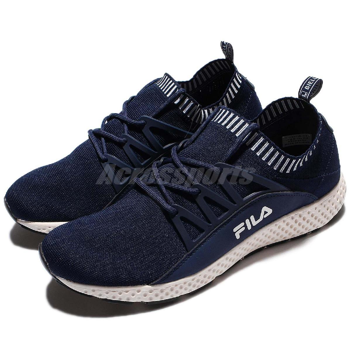 FILA 慢跑鞋 J307R 低筒 襪套式 藍 白 復古奶油底 運動鞋 編織鞋面 男鞋【PUMP306】 1J307R331