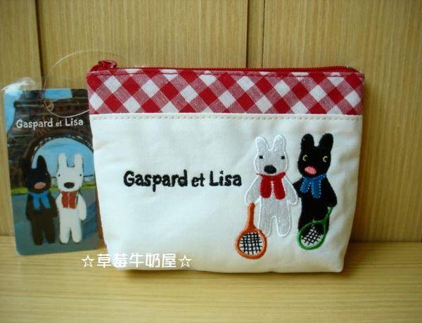 草莓牛奶屋日本進口Gaspard et Lisa黑白狗紅格紋收納包化妝包