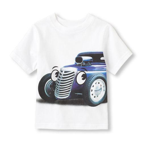 Place短袖上衣   骨董車圖案白色短袖T恤 5T (Final sale)