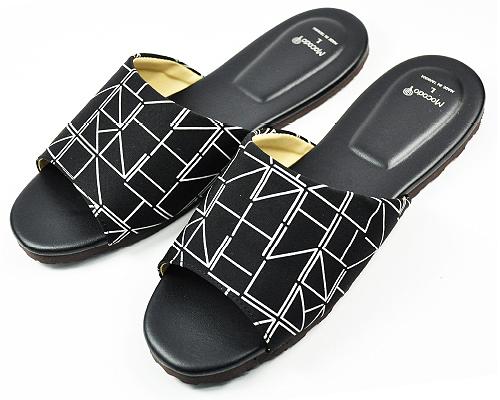 黑白幽默舒適皮室內拖鞋-線條室內拖鞋室內拖拖鞋止滑拖鞋防滑拖鞋mocodo魔法豆
