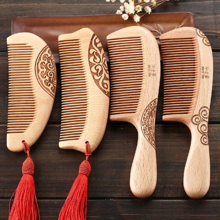 黃桃木梳子天然防靜電櫸木梳ღ部落男裝ღ
