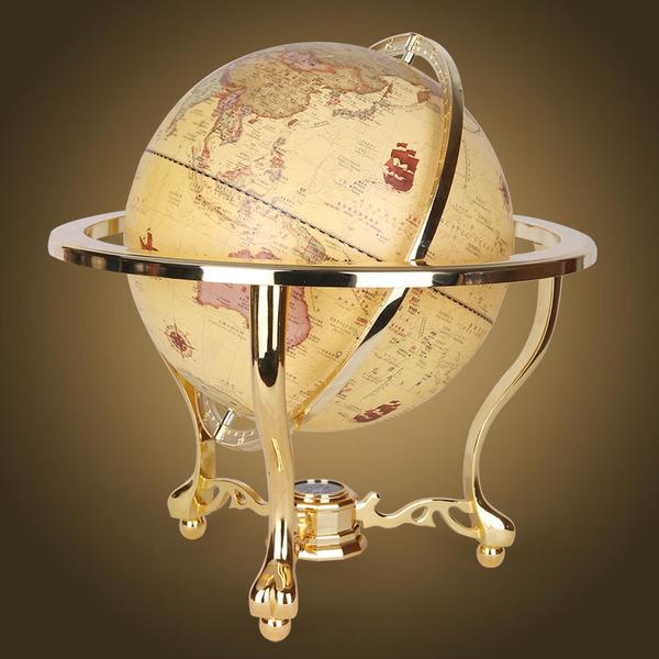 レトロ懷舊-仿古球風水地球儀32CM金色三腳辦公室高貴擺件預購7天現貨