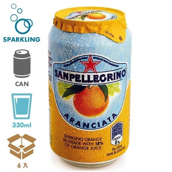 聖沛黎洛氣泡水果水罐裝-甜橙口味330mlx6入飲食生活家