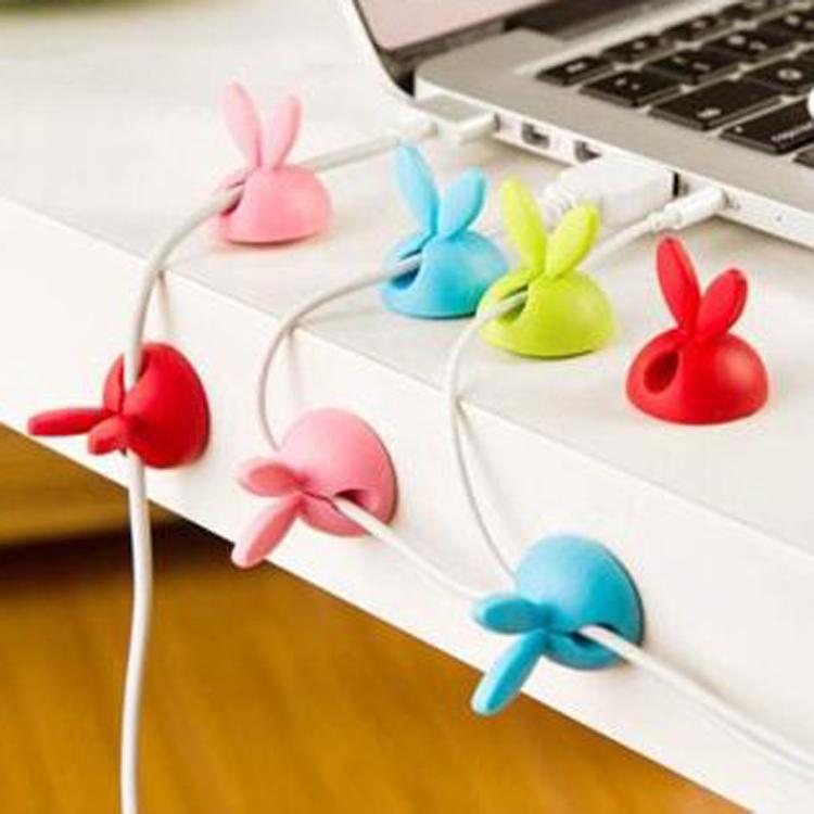 TT352耳機線USB數據線固線器創意兔耳朵桌面固線器可愛固定線夾